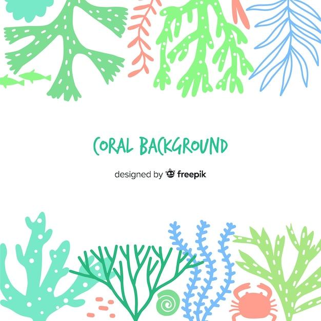 Fundo de coral mão desenhada cor pastel Vetor grátis