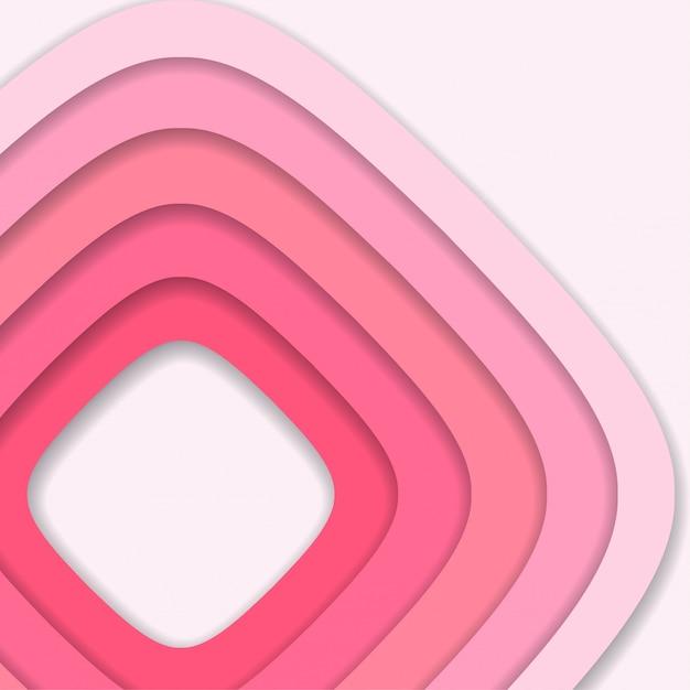 Fundo de corte de papel 3d rosa abstrato Vetor Premium