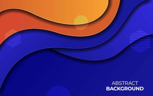 Fundo de corte de papel de cor laranja e azul Vetor Premium