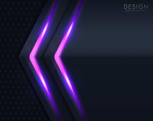 Fundo de corte de papel preto com violeta brilhando Vetor Premium