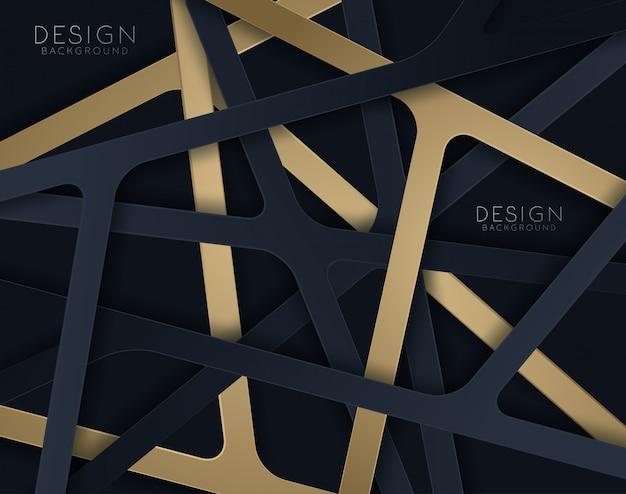 Fundo de corte de papel preto. decoração realística papercut Vetor Premium