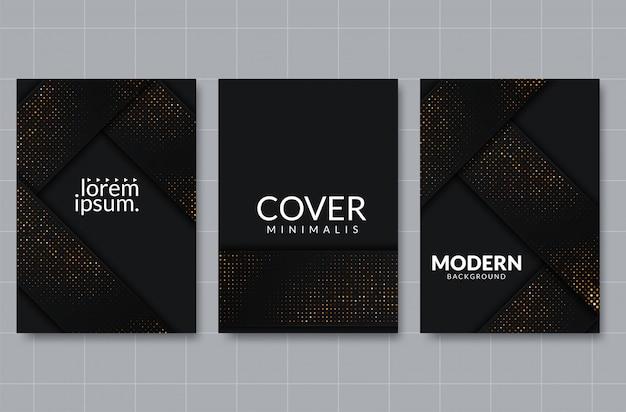 Fundo de corte de papel preto. resumo realista em camadas decoração papercut texturizada com padrão de meio-tom dourado Vetor Premium