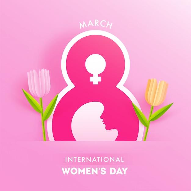 Fundo de corte de papel rosa decorado com texto de 8 de março, símbolo feminino e tulip flowers para a celebração internacional da mulher. Vetor Premium