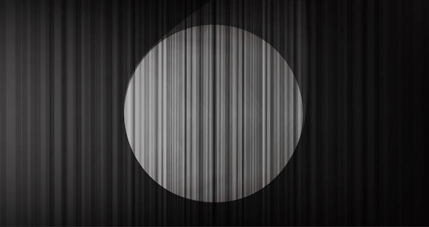 Fundo de cortina preta com luz de palco Vetor Premium