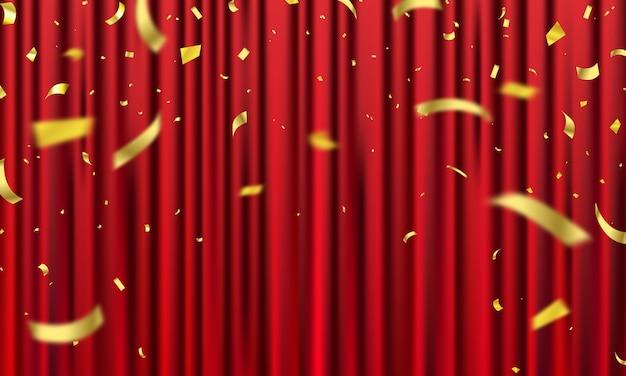 Fundo de cortina vermelha. design de eventos de inauguração. fitas de confete ouro. Vetor Premium