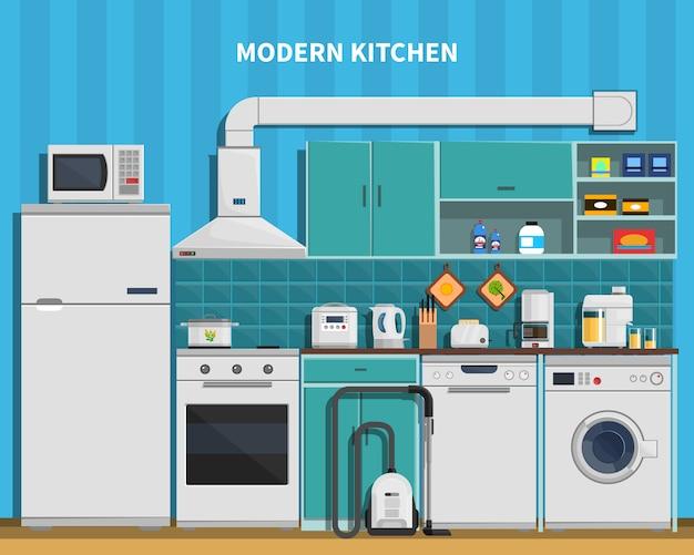 Fundo de cozinha moderna Vetor grátis