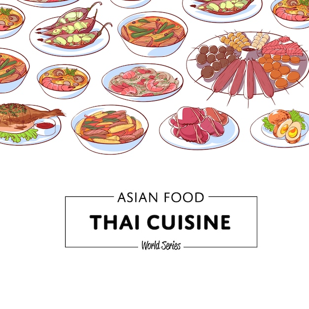 Fundo de cozinha tailandesa com pratos asiáticos Vetor Premium
