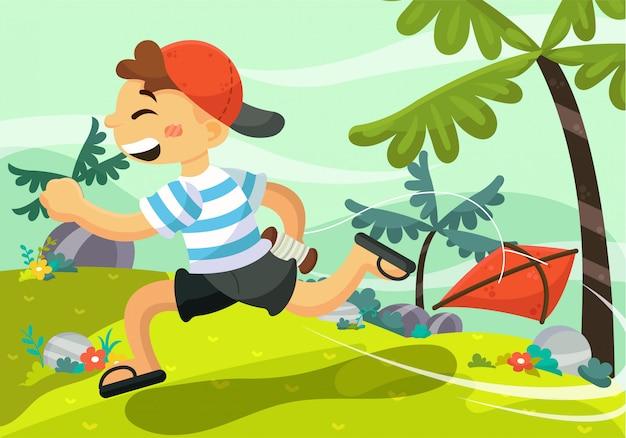 Fundo de crianças com paisagem ao ar livre Vetor Premium