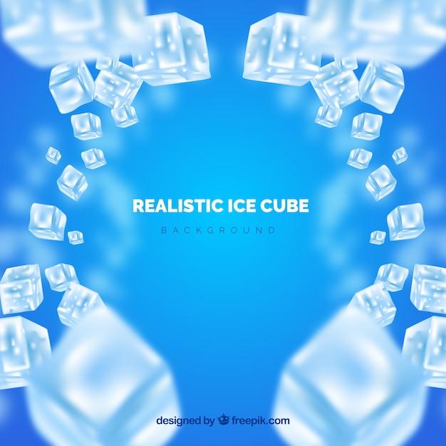 Fundo de cubo de gelo em estilo realista Vetor Premium