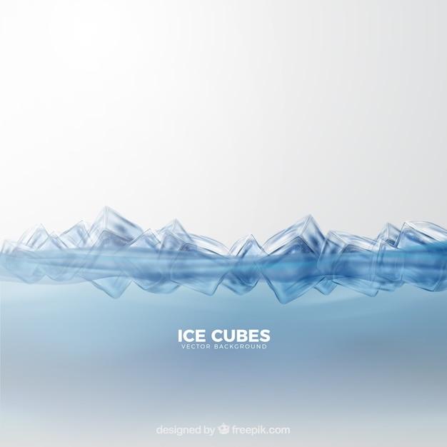 Fundo de cubos de gelo com estilo realista Vetor grátis