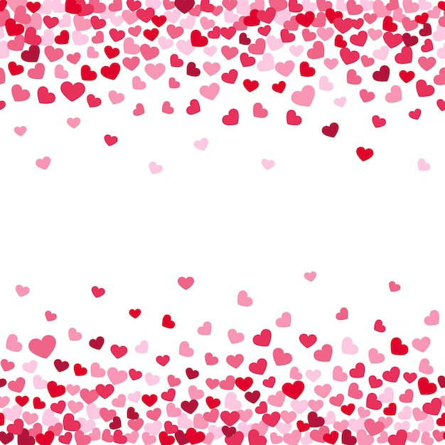 Fundo de decoração de confetes de corações caindo dos namorados Vetor Premium