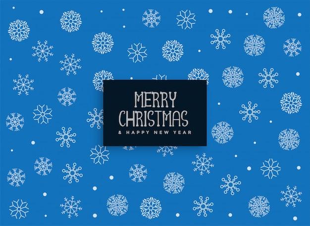 Fundo de decoração de flocos de neve azul feliz natal Vetor grátis