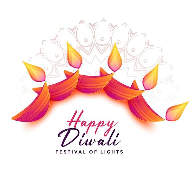 Fundo de decoração para o festival de diwali Vetor grátis