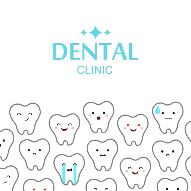 Fundo de dentes de clínica dentária. Vetor grátis
