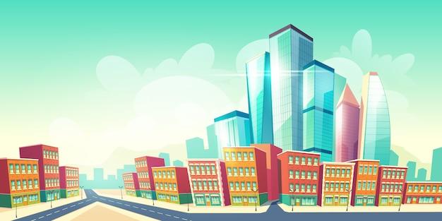 Fundo de desenho animado futuro metrópole crescente com estrada perto de casas do distrito antigo da cidade, edifícios de arquitetura retrô Vetor grátis