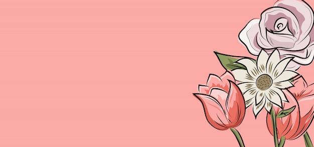 Fundo de desenho de flor dos desenhos animados Vetor Premium