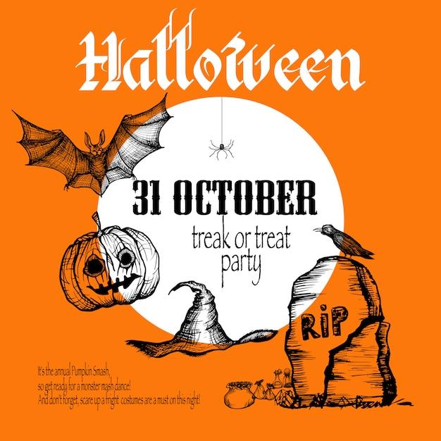 Fundo de desenho de halloween Vetor grátis