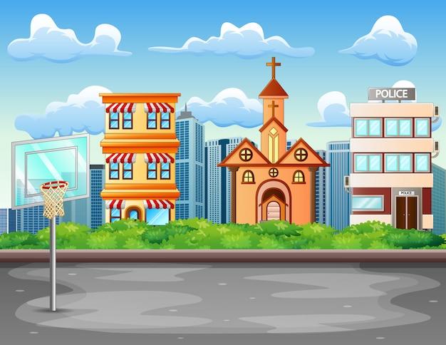 Fundo de desenhos animados com quadra de basquete na paisagem da cidade Vetor Premium