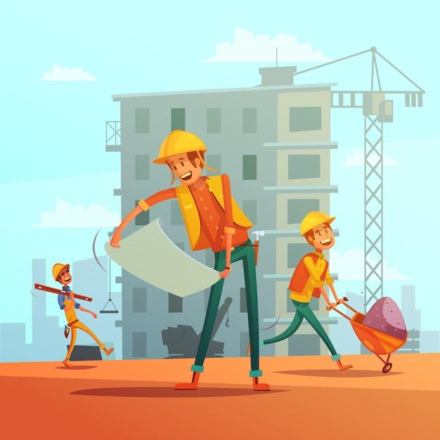 Fundo de desenhos animados de indústria de construção civil Vetor grátis