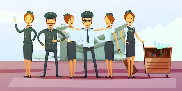 Fundo de desenhos animados de tripulação de avião Vetor grátis