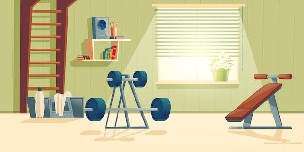 Fundo de desenhos animados do ginásio em casa com janela Vetor grátis