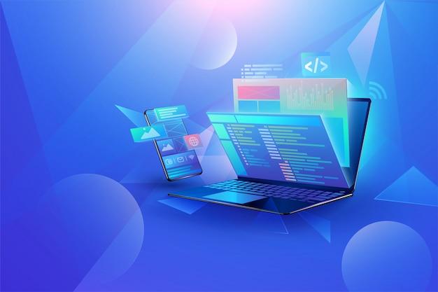 Fundo de desenvolvimento de aplicativos para dispositivos móveis Vetor Premium