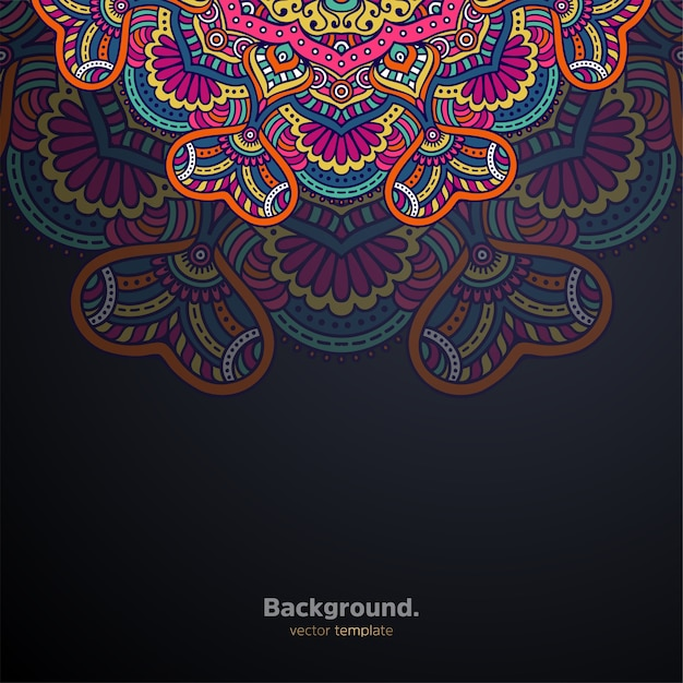 Fundo de design de mandala ornamental de luxo colorido Vetor grátis