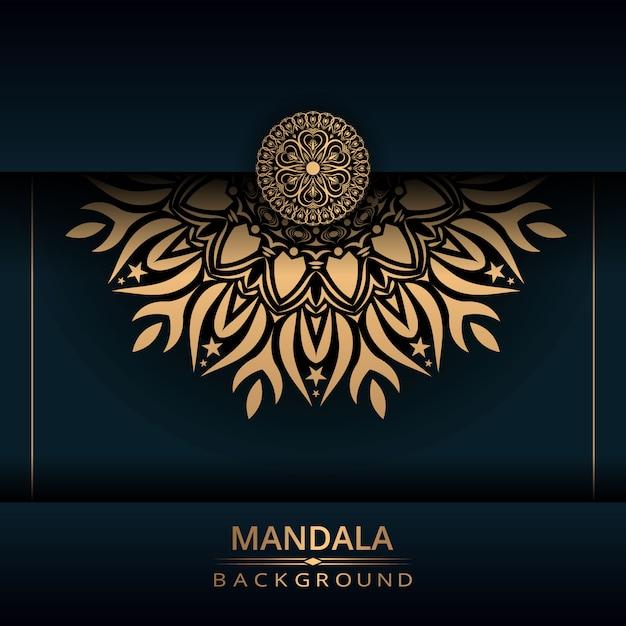 Fundo de design de mandala ornamental de luxo com cor dourada Vetor Premium