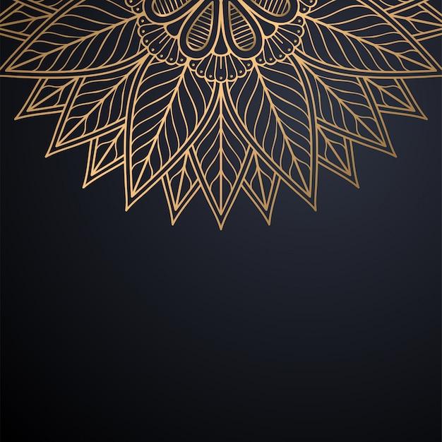 Fundo de design de mandala ornamental de luxo em vetor de cor ouro Vetor Premium