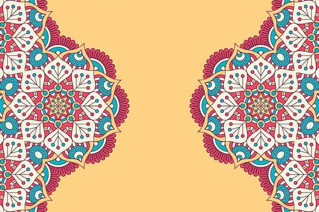 Fundo de design de mandala ornamental de luxo em vetor de cor ouro Vetor grátis