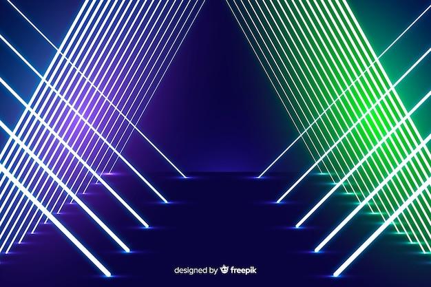 Fundo de design de palco de luzes de néon Vetor grátis