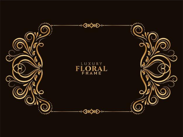 Fundo de design floral dourado elegante Vetor grátis