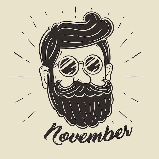 Fundo de design movember com barba hipster Vetor grátis