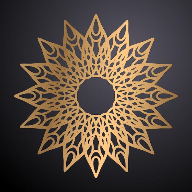 Fundo de design ornamental mandala de luxo na cor ouro Vetor grátis