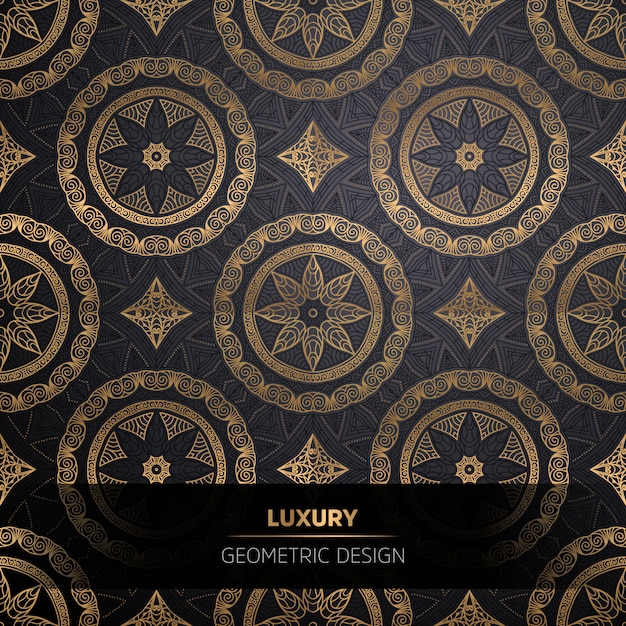 Fundo de design ornamental mandala de luxo na cor ouro Vetor Premium
