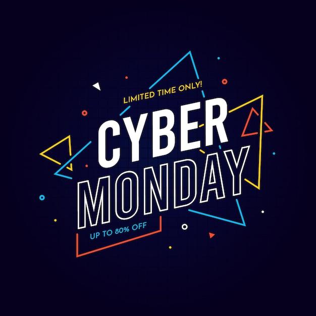 Fundo de design plano cyber segunda-feira Vetor grátis