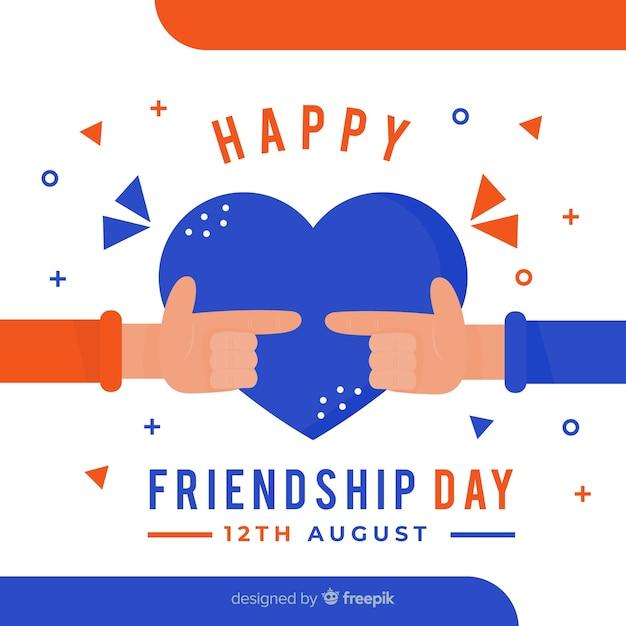 Fundo de design plano de dia de amizade Vetor grátis
