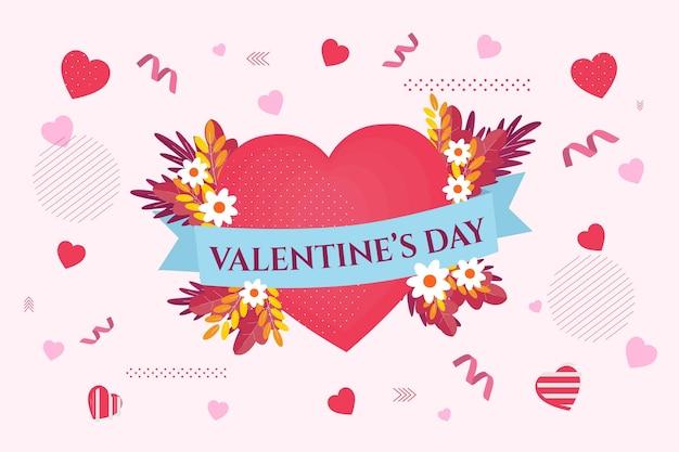 Fundo de design plano de dia dos namorados com corações e flores Vetor grátis