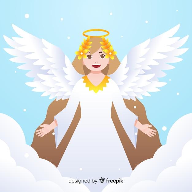 Fundo de detalhes dourados de anjo de natal Vetor grátis