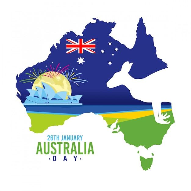 Fundo de dia da austrália com um canguru Vetor Premium
