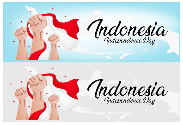 Fundo de dia da independência da indonésia Vetor Premium