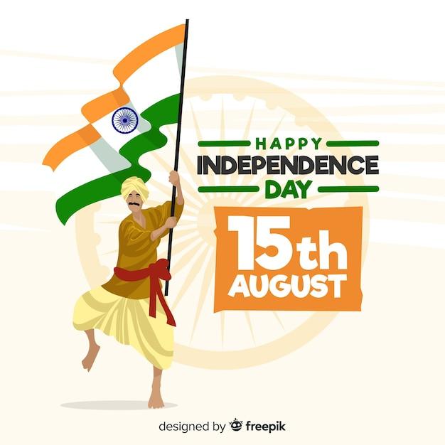 Fundo de dia da independência de india mão desenhada Vetor grátis