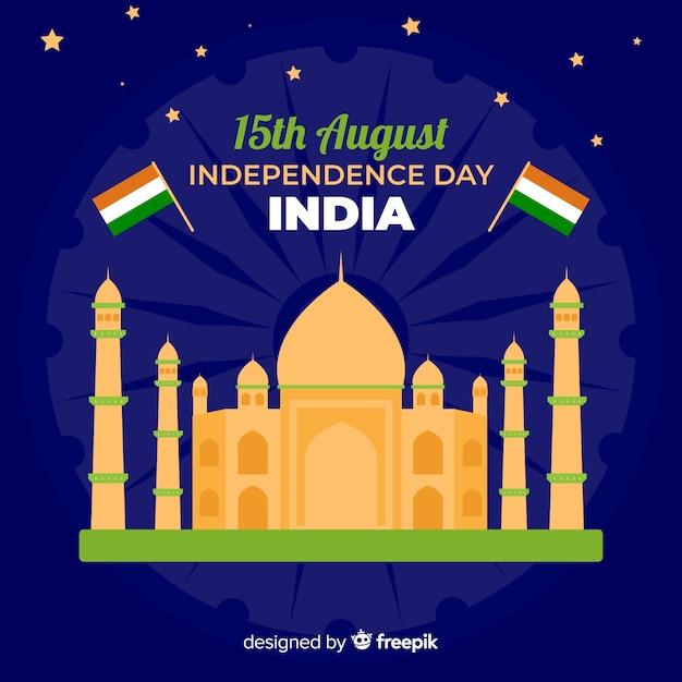 Fundo de dia da independência de india plana Vetor grátis