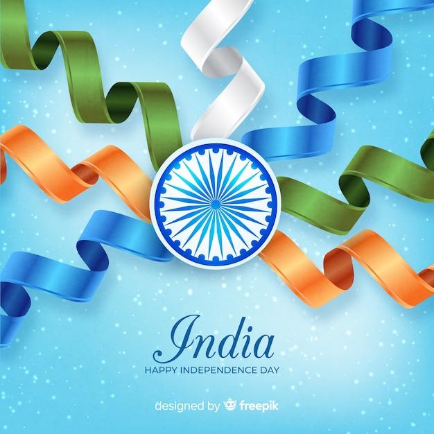 Fundo de dia da independência de india realista Vetor grátis