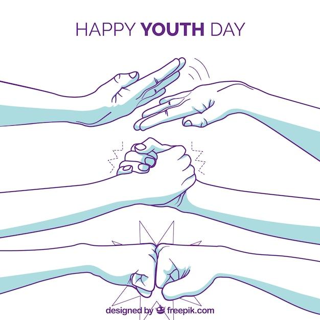 Fundo de dia da juventude com braços de mão desenhada Vetor grátis