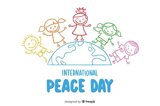 Fundo de dia da paz de mão desenhada Vetor grátis