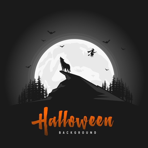 Fundo de dia das bruxas assustador com lobos Vetor Premium