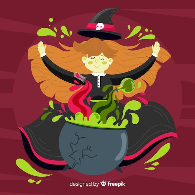 Fundo de dia das bruxas bonito bruxa Vetor grátis