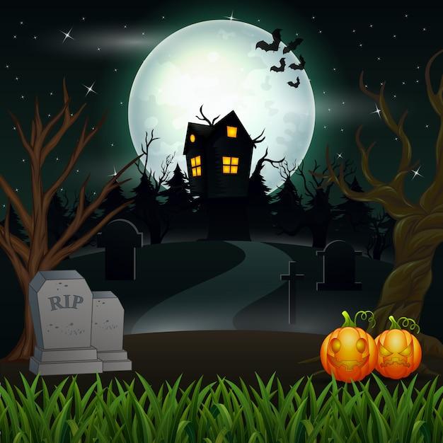 Fundo de dia das bruxas com casa assustadora na lua cheia Vetor Premium