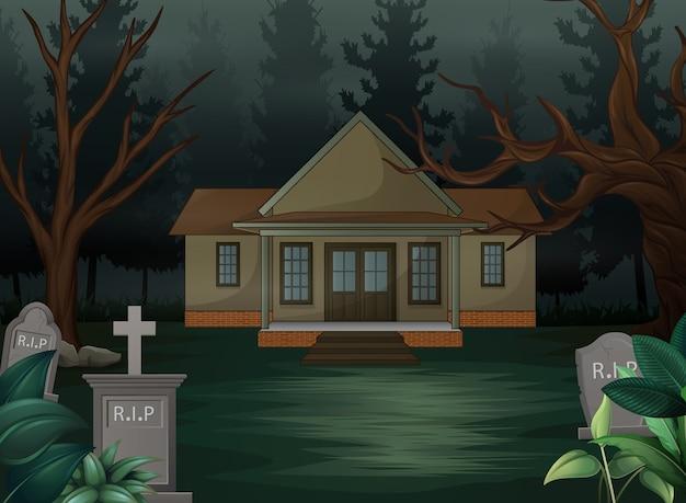 Fundo de dia das bruxas com casa assustadora na noite Vetor Premium